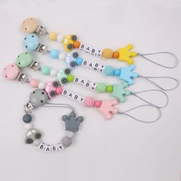 pacifier charms 2020 - Baby Pacifier Chain Cute Silicone Car Crown Charms Wooden Beads Molar Teether Toy Pacifier Chain Clip Holde cheap pacifi