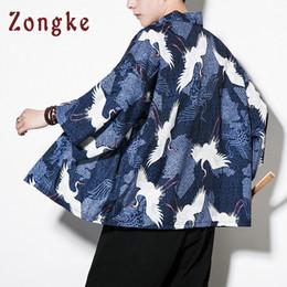 $enCountryForm.capitalKeyWord UK - Zongke Chinese Style Crane Printed Long Black Cardigan Casual Kimono Jacket Men 2018 Summer C19041901