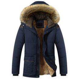 Wholesale men hoods online – oversize Winter Fur Collar Coat Hooded Jacket Men Winter Windproof Thicken Fleece Parka Mens Jackets and Coats Plus XL Outwear Clothes