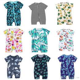girls fruit clothes UK - Baby Boys Girls Pineapple Floral Fruit Romper Ins Newborn Leaves Flower Striped Zipper Dinosaur Jumpsuits Summer Kids Climbing Clothes C4317