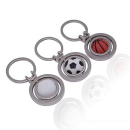 sports football key chains UK - Basketball football golf key chain Men's mini simulation rotating ball key ring Sports enthusiasts the best gift