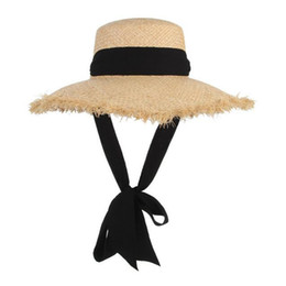 $enCountryForm.capitalKeyWord Australia - Handmade Weave Raffia Sun Hat Women Black Ribbon Lace Up Large Brim Summer Straw Hat sombrero de mujer Summer Beach Cap H3