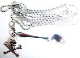 Mini Silver Spoons Australia - Gothic Bone Skull Head Mini Tea Snuff Spoon Necklace Pendant Ball Chain Statement Necklaces Women Accessories Fashion Jewelry Party Gift