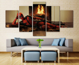 deadpool art 2019 - Deadpool Picture,5 Pieces Canvas Prints Wall Art Oil Painting Home Decor (Unframed Framed)