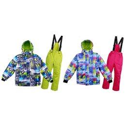 Ski Suits For Children Australia - Kids Ski Suit Children Windproof Waterproof Warm Snow Skiing Jacket Pants Wintersport Outdoor Sking Suit For Boys Girls