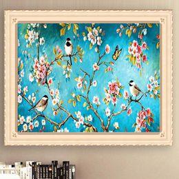 New Fashion Bird Paintings Australia - New DIY Diamond Painting Plum Magpie 5D Cross Stitch Peach Bird Mosaic Flower Bird Figure Living Room Decorative Painting