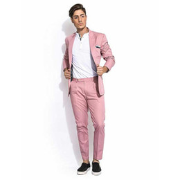 Wholesale pink tuxedos for men resale online - Wide Peaked Lapel Pink Men Suits for Wedding Terno Masculino Piece Jacket Pants Groom Tuxedo Suits Men Blazer Custom Costume Homme