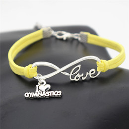 gymnastics pendants NZ - Hot Braided Silver color Infinity Love I Heart Gymnastics Pendant Bracelets & Bangles Yellow Leather Rope Luxury Jewelry For Men Women Gifts