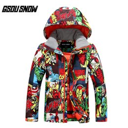 Snow Wear Jackets Australia - GSOU SNOW Children's Ski Suit Outdoor Windproof Waterproof Breathable Warm Ultra Light Ski Jacket Wear For Boy Size XS-M