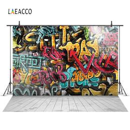portrait photography backdrop 2019 - Laeacco Grunge Graffiti Brick Wall Floor Scenery Portrait Photography Backgrounds Custom Photographic Backdrops For Phot