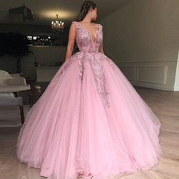 Heavy Red Evening Gowns NZ - 2019 Latest Pink Tulle Ball Gown Prom Dresses Heavy Beading Engagement Photos Red Carpet Formal Dress Charming Evening Wear