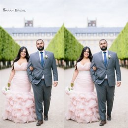 Petite Wedding Gown Pink NZ - 2019 Mermaid Pink Sweetheart Plus Size Wedding Dresses Tiered With Sleeveless Bridal Gowns High-end Occasion Wedding Dress