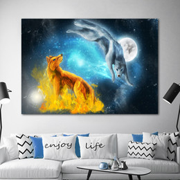 fire frame Australia - wolf Animal Posters Ice And Fire Pictures Canvas Painting Wall Art Picture For Living Room Home Decoration No Frame