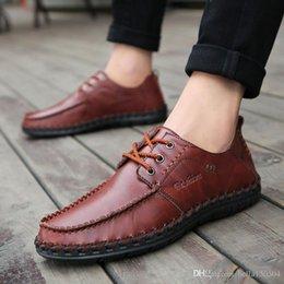 $enCountryForm.capitalKeyWord Australia - genuine leather Designer brand male casual flats shoe cowhide leather Mocassin lace-up or Slip-On men's suit shoe Dress Shoes free ship
