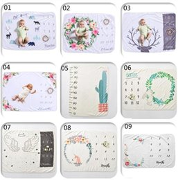 animal backgrounds NZ - 9 styles INS Baby Photographic Background Props Fleece Baby Milestone Blankets Letters Flower Animals Print Photographic Blankets 20pcs