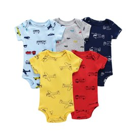 orange baby girl clothes UK - 5pcs lot Cotton Infant Newborn Clothes,short Sleeve O-neck Car Print Bodysuit For 6-24 Month Baby Boy Girl,2018 New Costume Y19050602