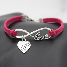 $enCountryForm.capitalKeyWord NZ - Antique Silver Infinity Love Heart Animal Cute Puppy Dog Claw Paw Charm Cuff Bracelet Woven Handmade Red Leather Rope Women Men Jewelry Gift