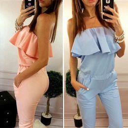 $enCountryForm.capitalKeyWord Australia - Red ruffles high waist sexy women jumpsuit romper Summer 2016 one piece elegant playsuit Girl pink off shoulder long overalls
