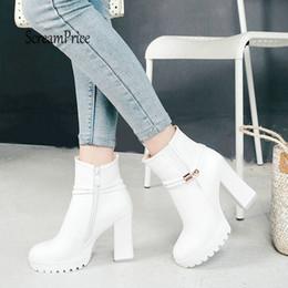 $enCountryForm.capitalKeyWord NZ - Women Chunky High Heel Ankle Boots Fashion Platform Side Zipper Fall Winter Short Boots Shoes 2019 White Black Apricot Dropship