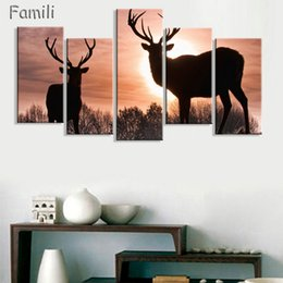Golden Tree Painting Australia - 5pcs Animal Deers Canvas Prints Painting Modern Autumn Trees Golden Wall Art Home Decoration Picture for Chirtmas