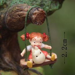 totoro mini figures 2019 - ction Figure random Swing Girl Totoro Miniature Fairy Garden Home Houses 2.2cm PVC Mini Micro decoration Doll Model Anim