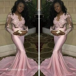 deadf81d12843 2019 New Design Pink Mermaid Lace Appliques Long Sleeves Prom Dress Sexy  African Sheer Bodice Party Gown Custom Made Plus Size