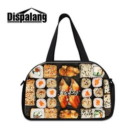 vintage clothes for women NZ - Dispalang Vintage Sushi Printing 2019 New Arrival Double Layer Gym Pouch for Shoes and Clothes Lager Compartment Lady Style