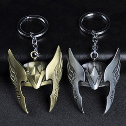 superhero keychains UK - MOQ:10PCS Fashion Jewelry Movie Keyring Party Gift The Avengers Thor Helmet Keychains Alloy Superhero For Men