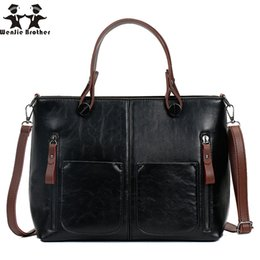 3e51736c8c72 wenjie brother hot sale oil wax PU Vintage Women Shoulder Bag Female Causal  Tote for Shopping and work High Quality lady Handbag