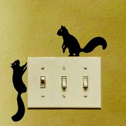 Squirrel Wall Stickers Australia - Squirrels Wandering Vinyl Bedroom Switch Sticker Removable Home Decoration Wall Sticker