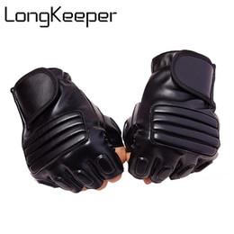 Leather Gloves Long Finger Men Australia - Long Keeper New Style Mens Leather Driving Gloves Fitness Gloves Half Finger Tactical Gloves Black Guantes Luva Fingerless