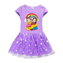 short frock girls NZ - Summer Dress For Baby Girl Lace Frock Korean Kid Cartoon Cotton Party Princess Dresses Children Costume 3 4 5 6 7 8 9 Year