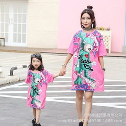 $enCountryForm.capitalKeyWord NZ - Mommy Daughter Dresses Tshirt Clothing Family Matching Outfits Pyjamas Summer New Mother Daughter Cartoon Print T-shirts Clothes