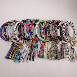 $enCountryForm.capitalKeyWord Australia - PU Bracelet Keychain Personalized Marble Leopard Keychain Lanyard Leather Tassel Key Chain Bracelet 32 Style HHA562