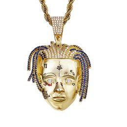 $enCountryForm.capitalKeyWord UK - Hip Hop Gold Color Full CZ Zircon Paved Bling Iced Out Men Head Pendant Necklaces for Men Rapper Jewelr
