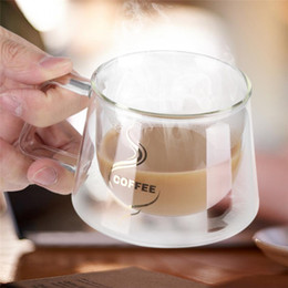 b53b6eed33b Double-Wall Insulated Glass Coffee Cup Glass Cup Office Garden Cafe Home Heat  Resistant Mug Glassware Coffee Tea Milk Cafe Cup