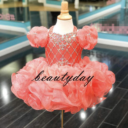 Girl yellow paGeant dresses size 12 online shopping - Coral Girls Pageant Dresses New Toddler Kids Ball Gown Glitz Flower Girl Dress Weddings Beaded Drapped Cupcake Size