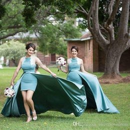 $enCountryForm.capitalKeyWord Australia - 2019 Mint Green High Neck Short Bridesmaid Dress With Detachable Train Sheath Above Knee Length Wedding guest Gown Cheap Prom Party Dresses