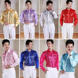 Long Sleeve Shirt Men s Slim Chorus Host Dance Performance Costume Stage  Performance Square Sequins Shirt 96dc119c9f2e