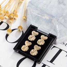 Copper Earrings Australia - 1pair Stud Earrings for Women Simple Elegant Wild Personality Lady Ear Jewelry Earring Aids Silver Gold Flower Heart Earrings