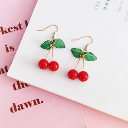 Fruits Earrings Wholesale Australia - Hot Red Cherry Earrings Eardrop Sweet Fruit Fresh Cherry Eardrop Female Fashion Youth Beautiful Girl Students Earrings For Women
