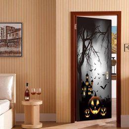 Art People Australia - 2Pcs Set 3D Cartoon Halloween Pumpkin DIY Door Art Mural Wall Sticker Home Decor Bedroom PVC Festival Wallpaper