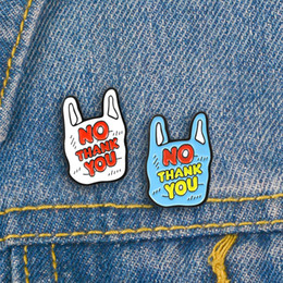 Discount plastic pins - Creative Plastic Bag Letter Brooch for Women Men White Blue No Thank You Enamel Pins Denim Clothes Bag Badge Brooches Je