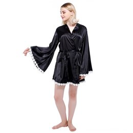 kimono underwear sleepwear UK - Black Silky Kimono Sleepwear LC22510 sexy women autumn 2016 new Valentine dress robe vestidos Women's Underwear Underwear feminino