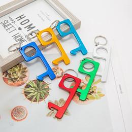 venda por atacado Contactless Key cadeia operner Door Opener pingente de metal abridor de imprensa não toque Imprensa Ferramenta Elevador 5color T2I51091
