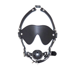 bdsm head gag 2019 - Fetish Mouth Gag With Eye Mask BDSM Head Harness Ball Gags Sex Restraints Adult Toys for Women gn222402048 cheap bdsm he