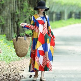 long sleeve robes womens NZ - Womens Dress Woman Dresses Women Ethnic Printed Long Sleeve Maxi Gown 2019 New Autumn Vintage Loose Casual Oversize Robe Vestido Mujer