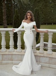 $enCountryForm.capitalKeyWord Australia - Off Shoulder One Long Sleeves Slim Mermaid Wedding Dresses Formal 2020 Modest Bridal Gowns Customized Long Garden Middle Eas New Fashion