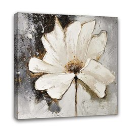 $enCountryForm.capitalKeyWord Australia - Hand Painted Acrylic Oil Painting Abstract Floral White Flower Picture framed Wall Art Living Room Bedroom Hallway Wall Decor