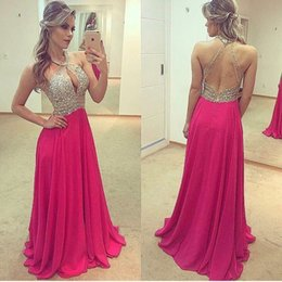 $enCountryForm.capitalKeyWord Australia - Halter Keyhole Front Bodice Beaded Long Chiffon Prom Dresses